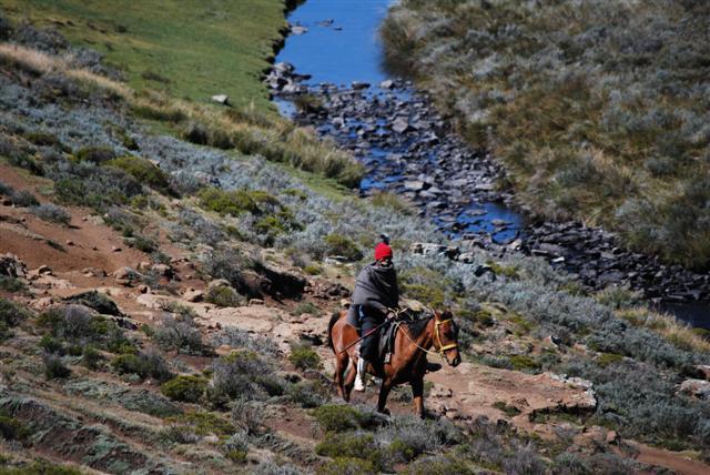 Basutho on a horse in the Drakensberg